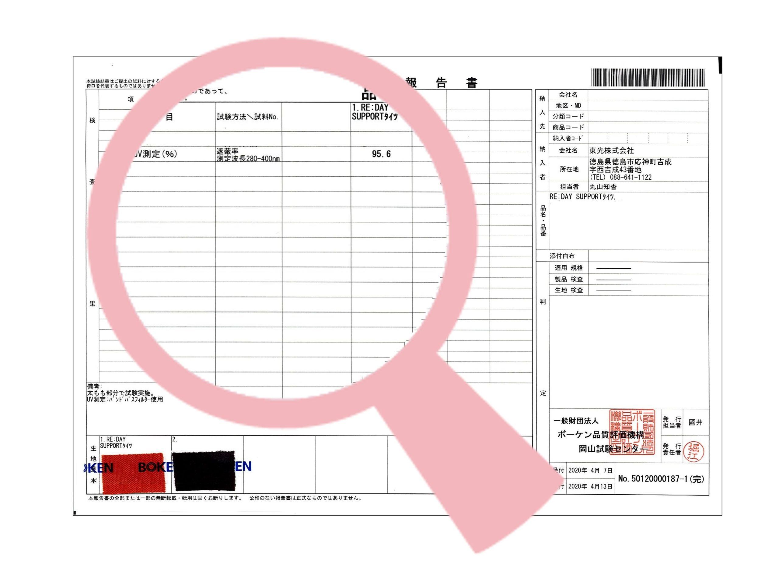 サポ-ト UVカット検査結果